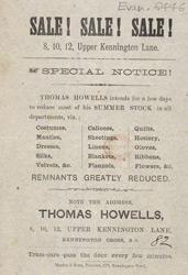 Advertisement for Thomas Howells' store 6446
